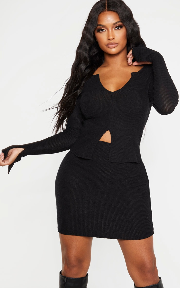 Shape Black Brushed Rib Long Sleeve Top 1