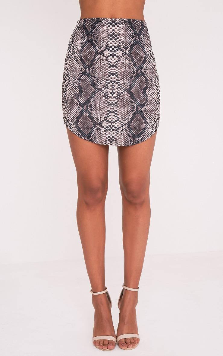 Angelia Brown Curve Hem Snake Print Mini Skirt 3