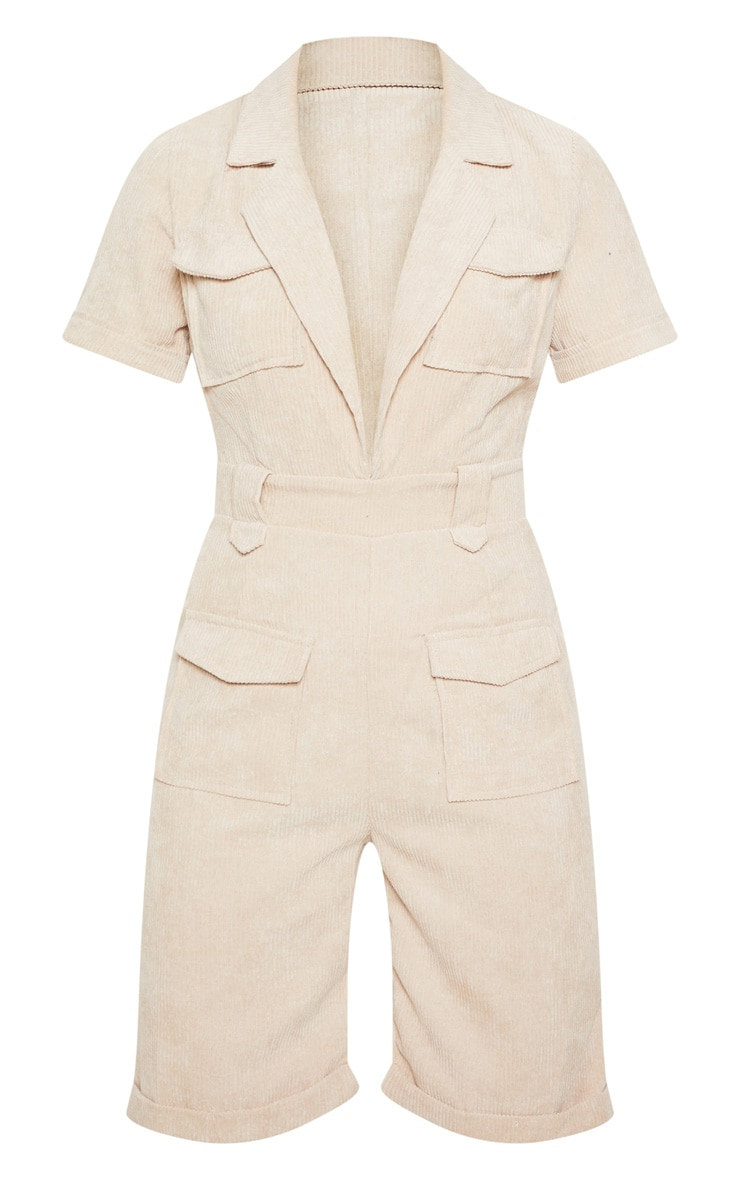 Stone Cord Pocket Detail Plunge Romper 3