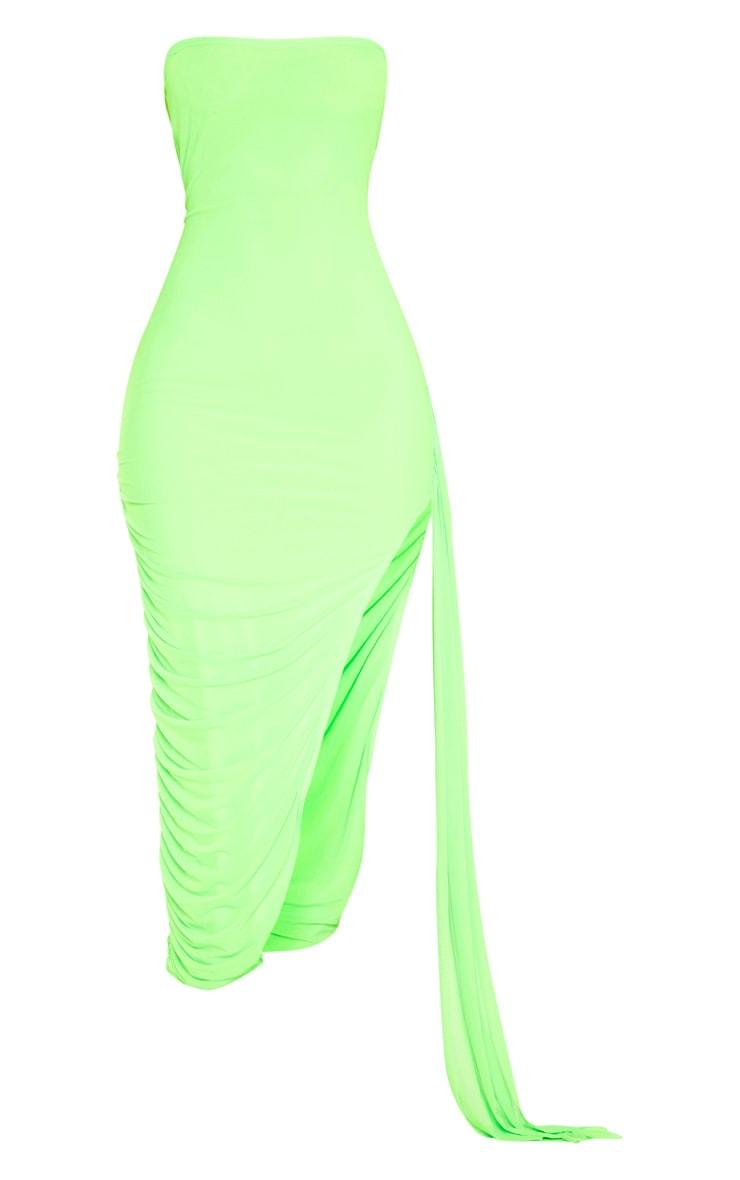 Neon Lime Mesh Bandeau Drape Detail Split Midi Dress 3
