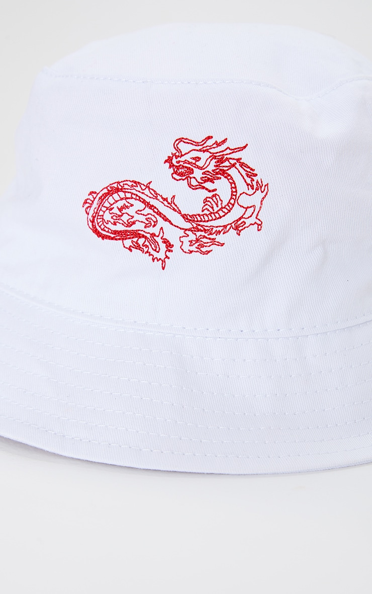 White Dragon Embroidered Bucket Hat 3