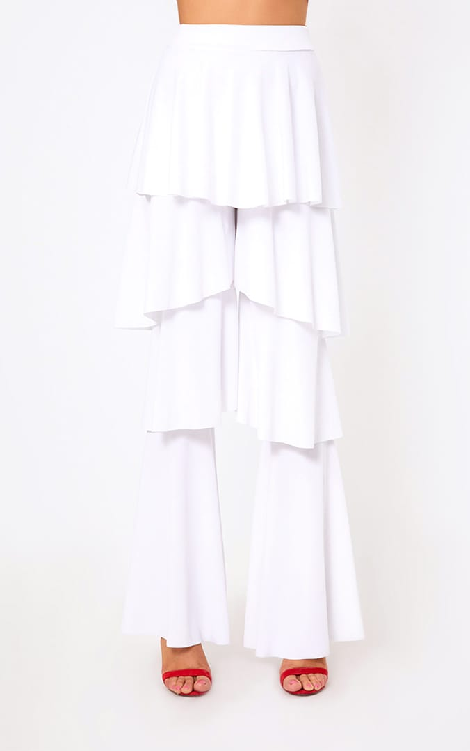 White Tiered Frill Wide Leg Trousers 2