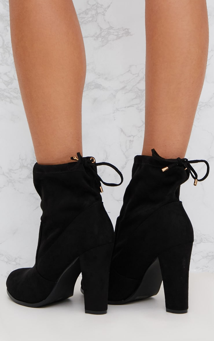 Black Faux Suede Heeled Ankle Boot 4