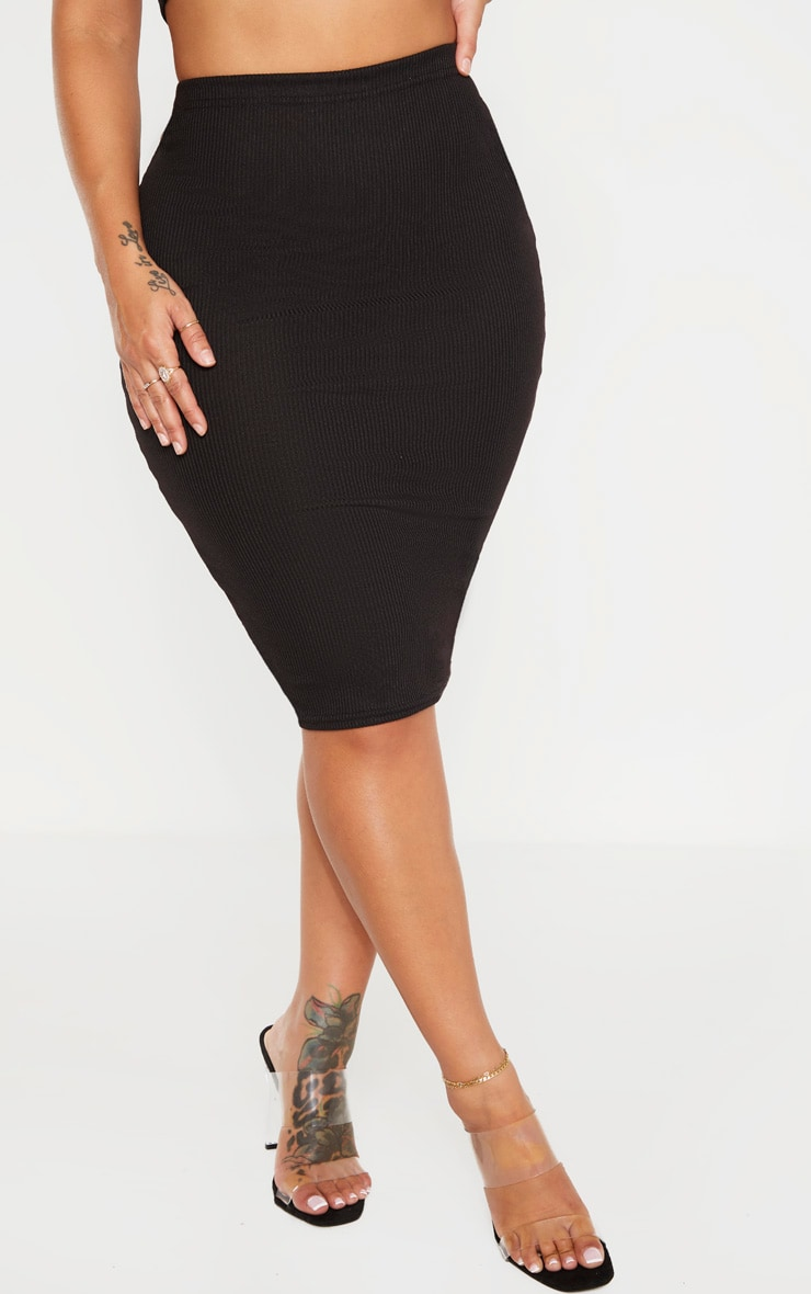 Shape Black Ribbed Basic Midi Skirt 2