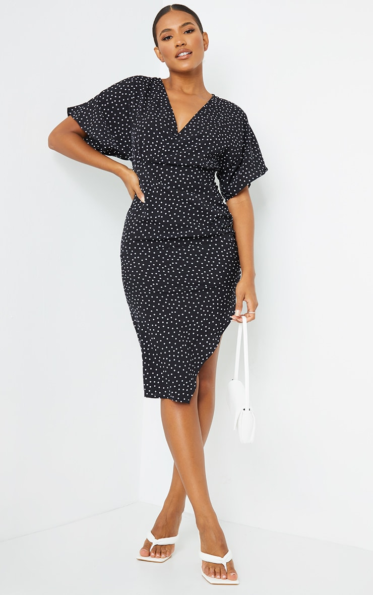 Black Polka Dot Woven Batwing Ruched Side Split Midi Dress 3