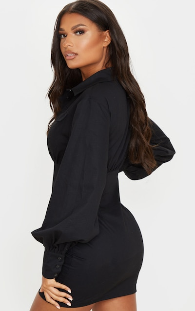 Black Pocket Front Long Sleeve Bodycon Shirt Dress
