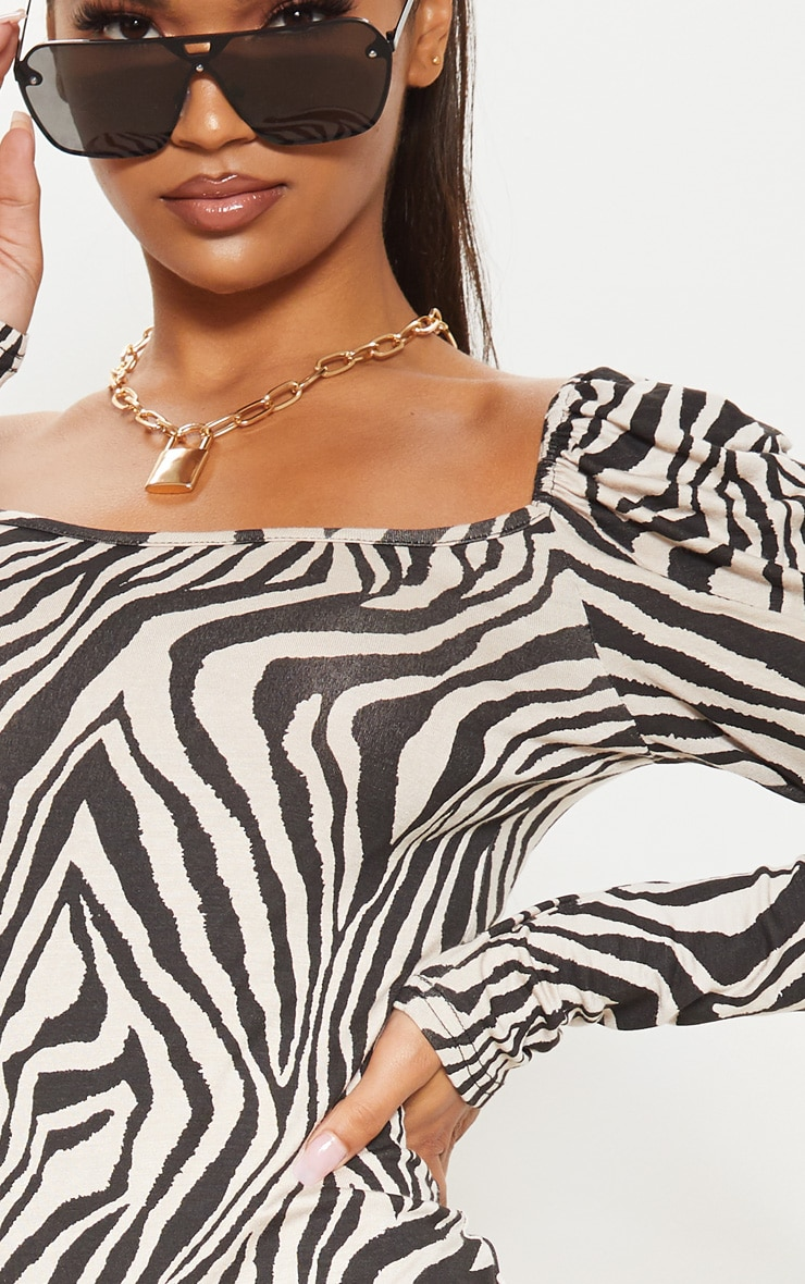 Stone Zebra Print Puff Long Sleeve Bodycon Dress 5