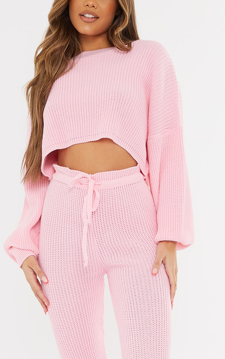 Baby Pink Waffle Knitted Crop Sweater And Tie Waist Leggings 4