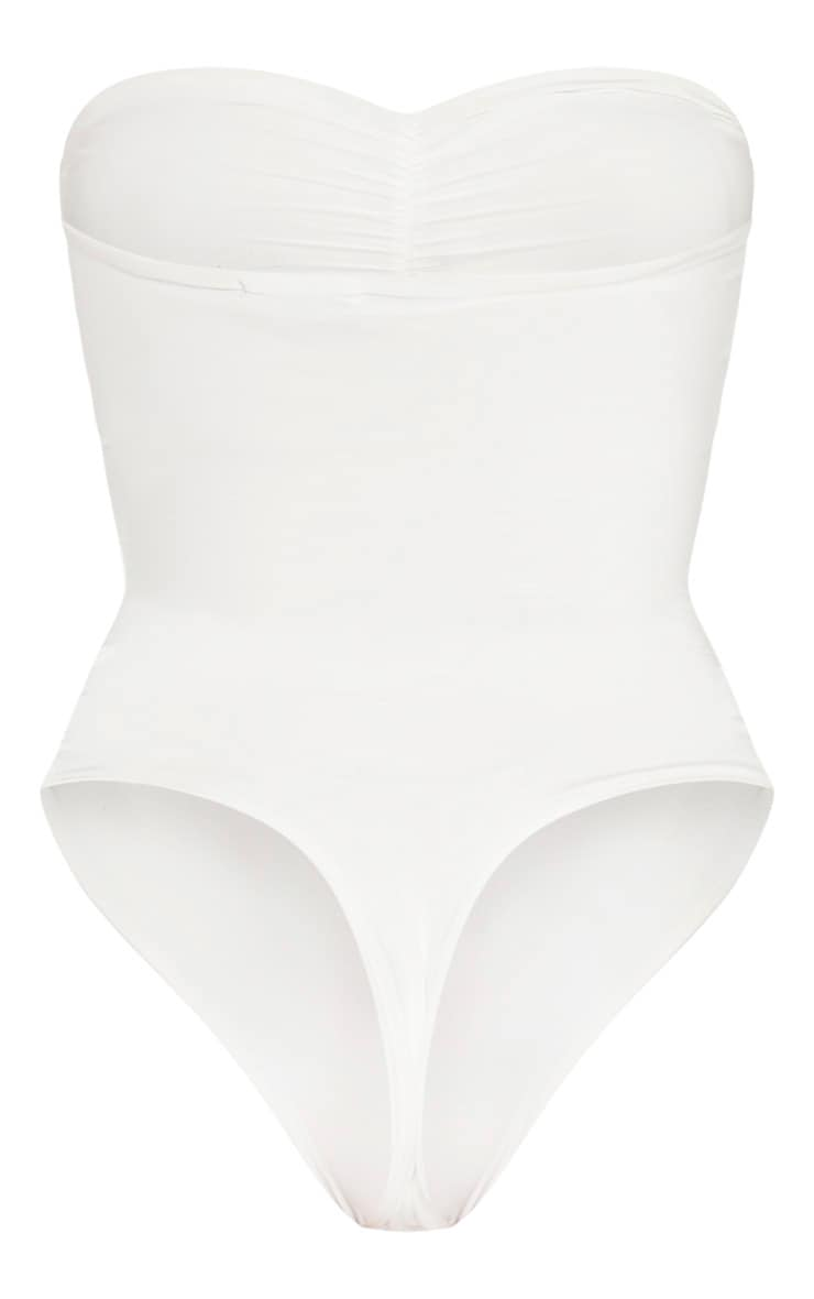 White Slinky Ruched Front Strapless Bodysuit  4