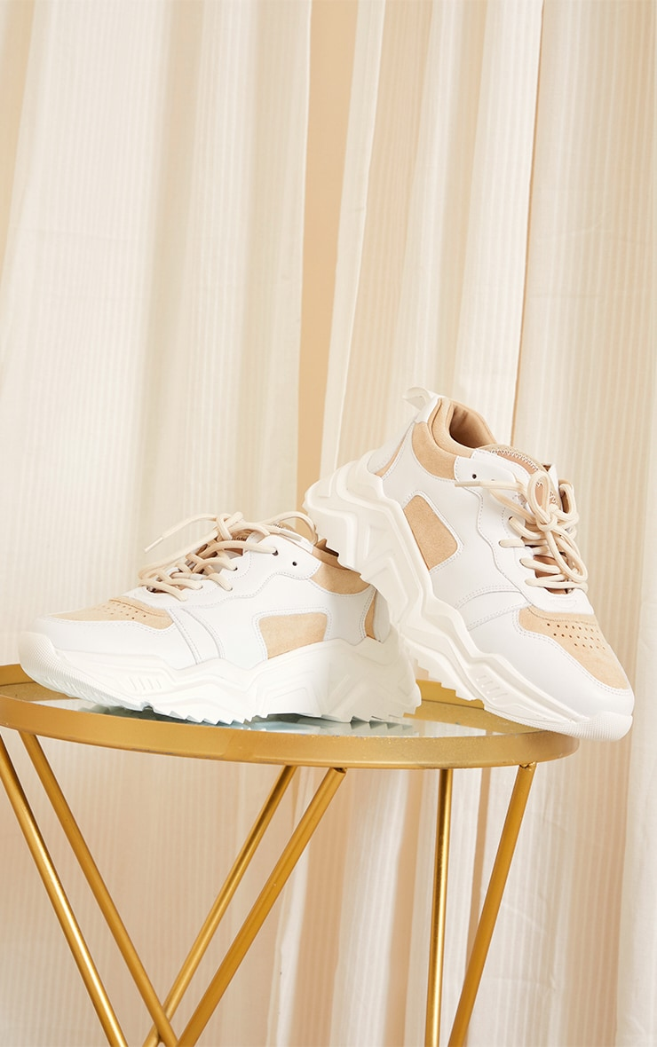 Sand Chunky Diagonal Cleated Sole Sneakers 3