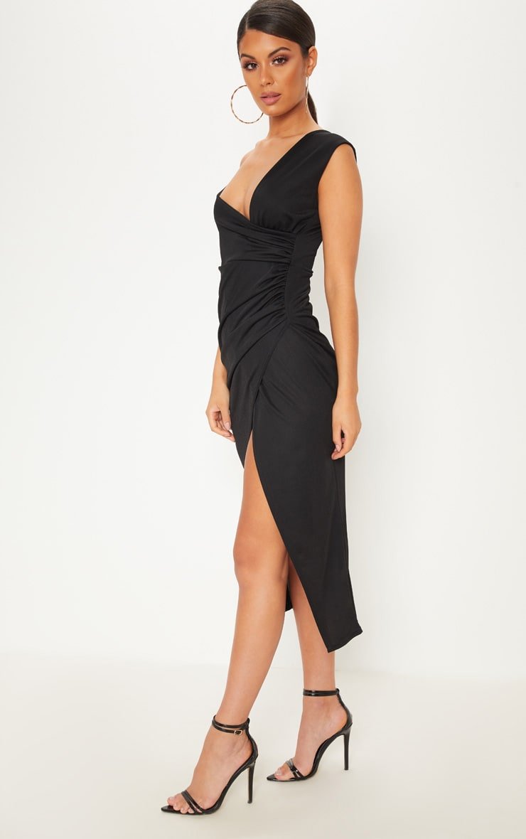 Black Asymmetric Sleeve Ruched Midi Dress 4