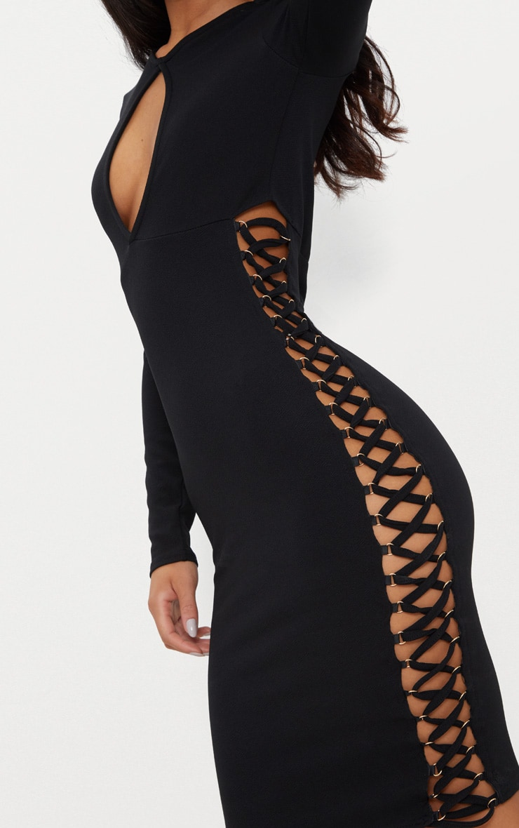 Black Cut Out Top Lace Up Side Midi Dress  5