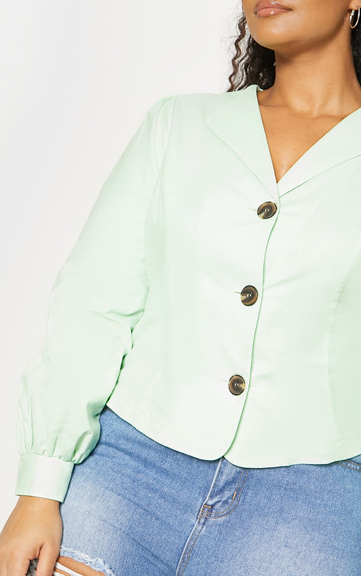 Plus Mint Green Woven Button Front Puff Sleeve Top 5