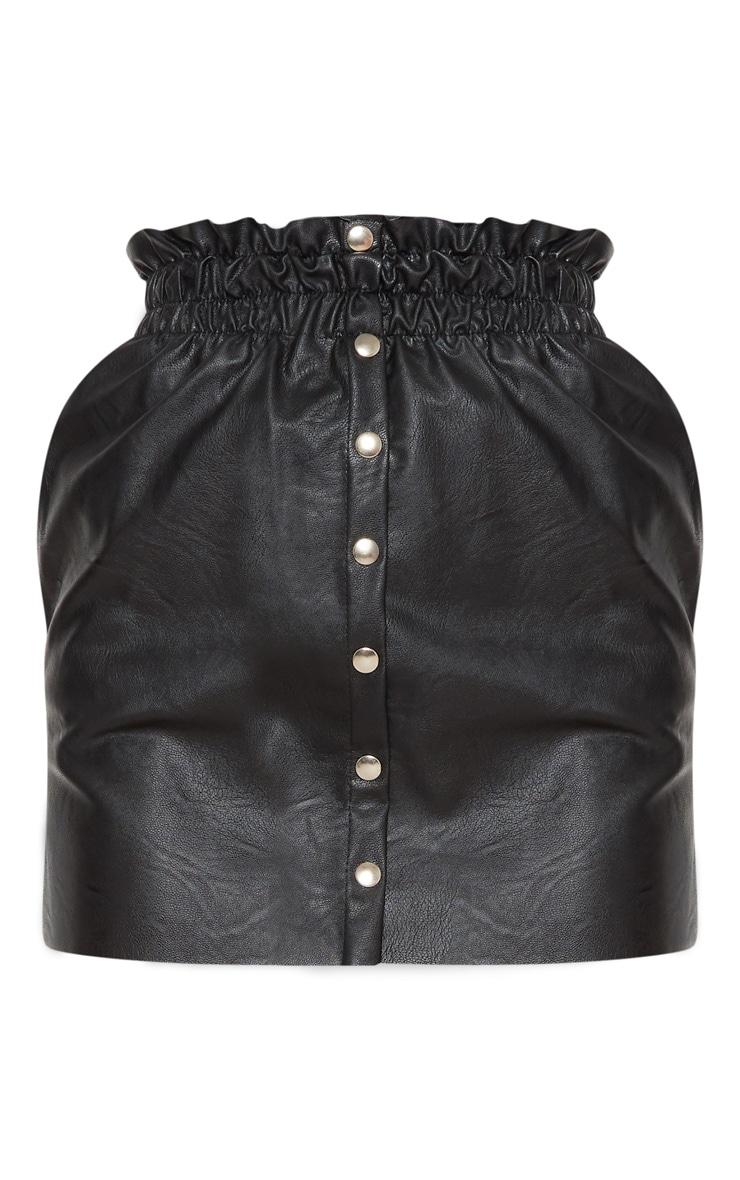 Black Popper Front PU Skirt 3