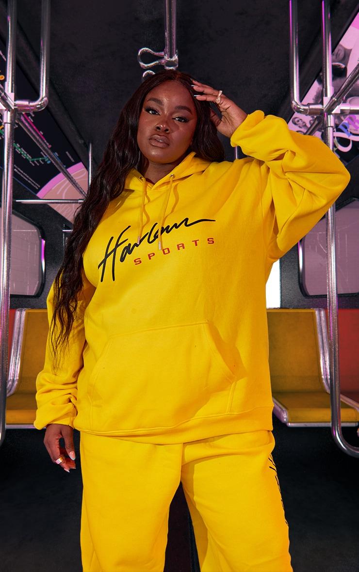 Plus Yellow Unisex Printed Oversized Hoodie 2