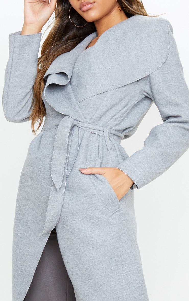 Veronica Silvery Grey Oversized Waterfall Belted Coat 5