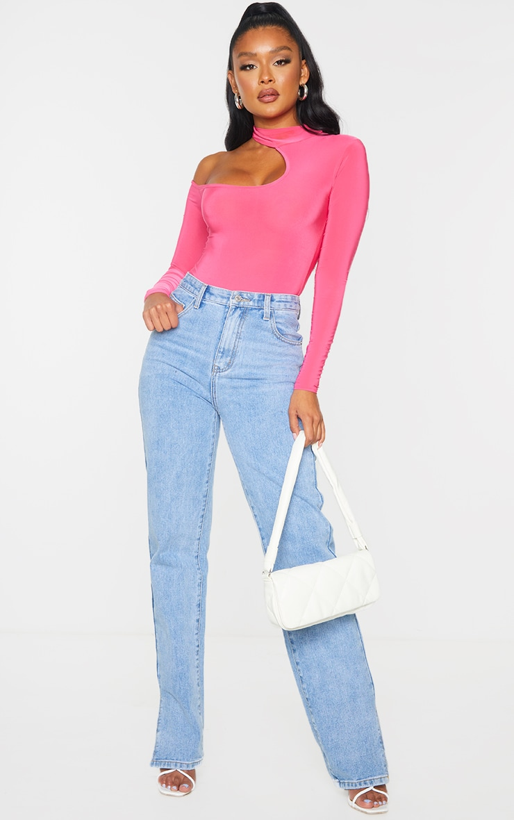 Hot Pink Slinky High Neck Cut Out Long Sleeve Bodysuit 3