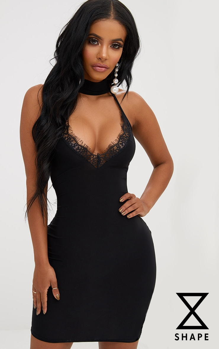 Shape Black Lace Trim Plunge Choker Dress
