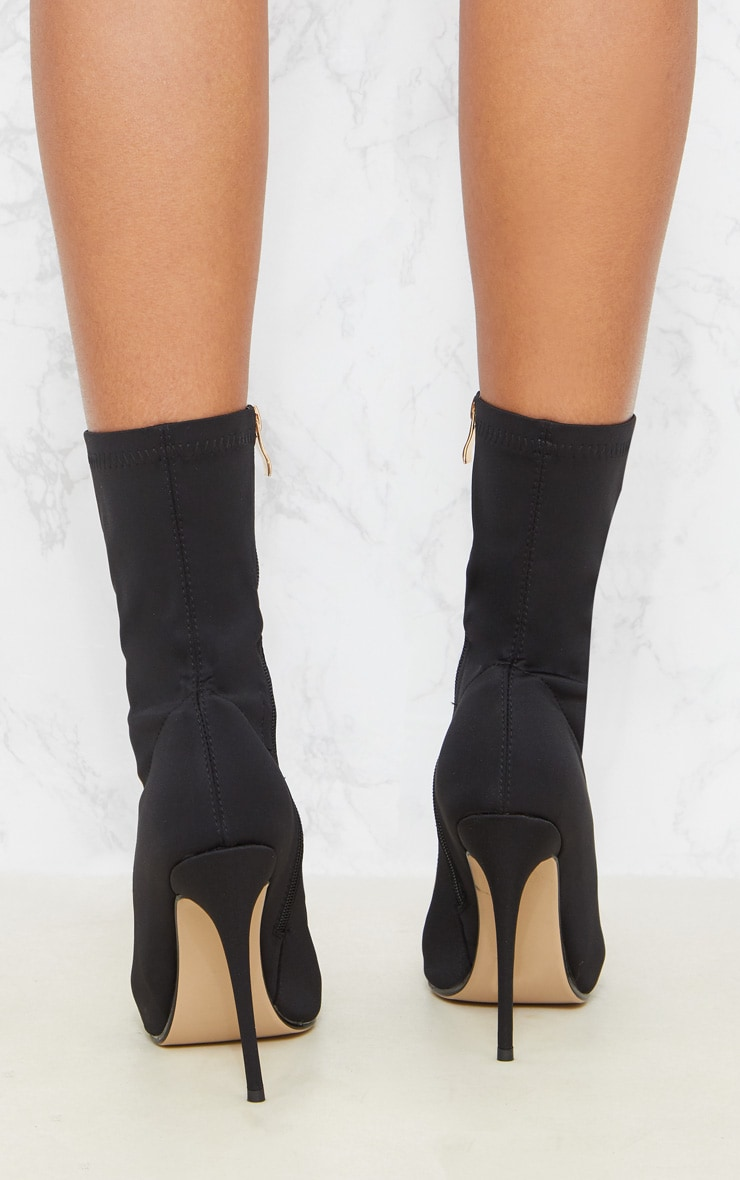 Black Lycra Sock Heeled Boot 3