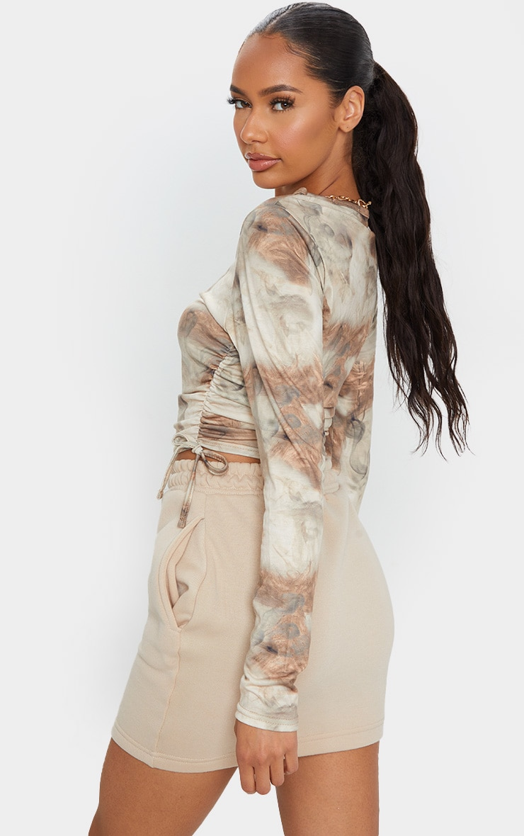 Beige Jersey Tie Ruched Side Long Sleeve Crop Top 2