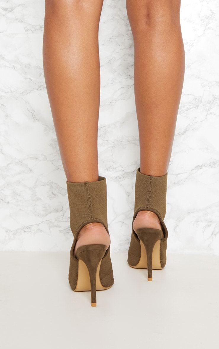 Khaki Knit Peeptoe Shoe Boot 4