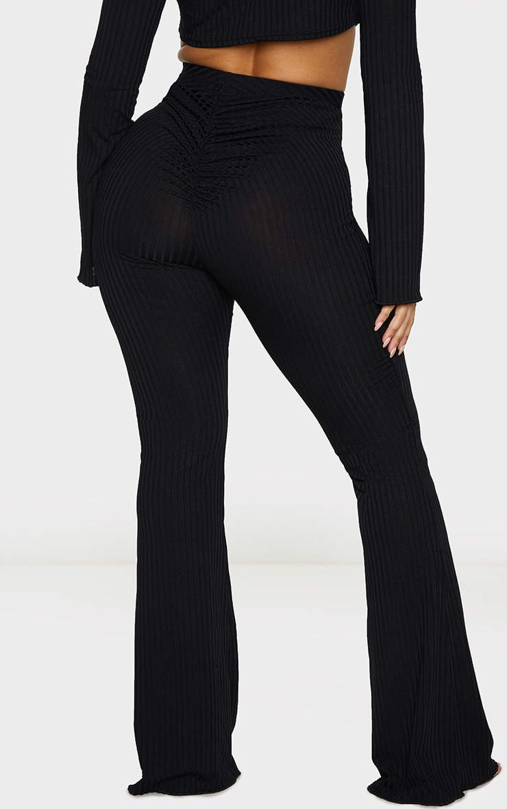 Shape Black Ruched Bum Flared Trousers 3