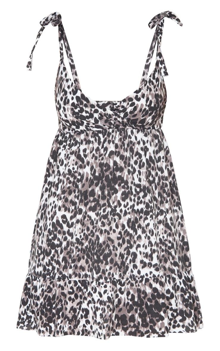 Robe patineuse marron volantée à imprimé léopard et bretelles nouables 3