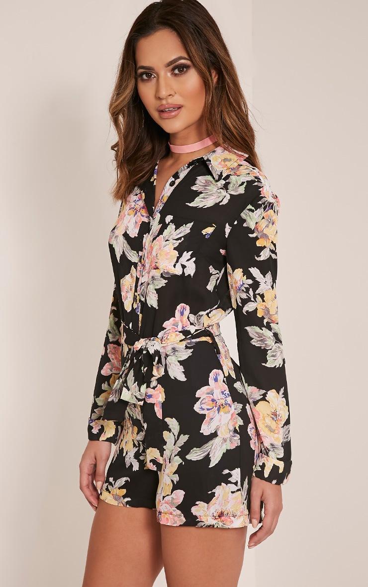 Jada Black Floral Print Shirt Playsuit 7