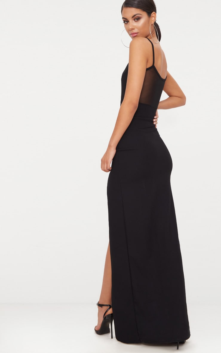 Black Mesh Panelled Strappy Extreme Split Maxi Dress 2