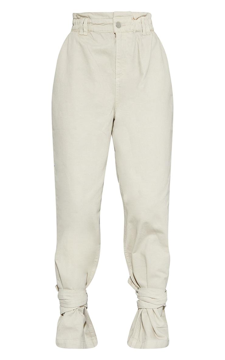 Sand Washed Tie Hem Paperbag Jeans 5