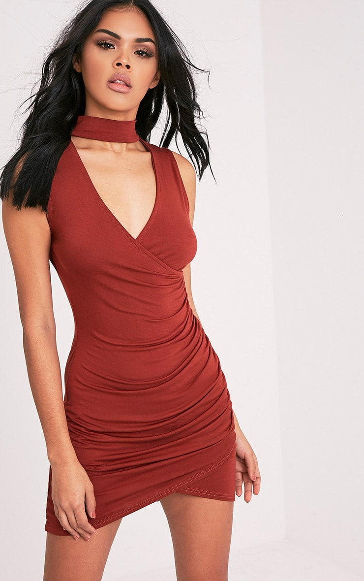 Amaris Tobacco Choker Detail Ruched Bodycon Dress 1