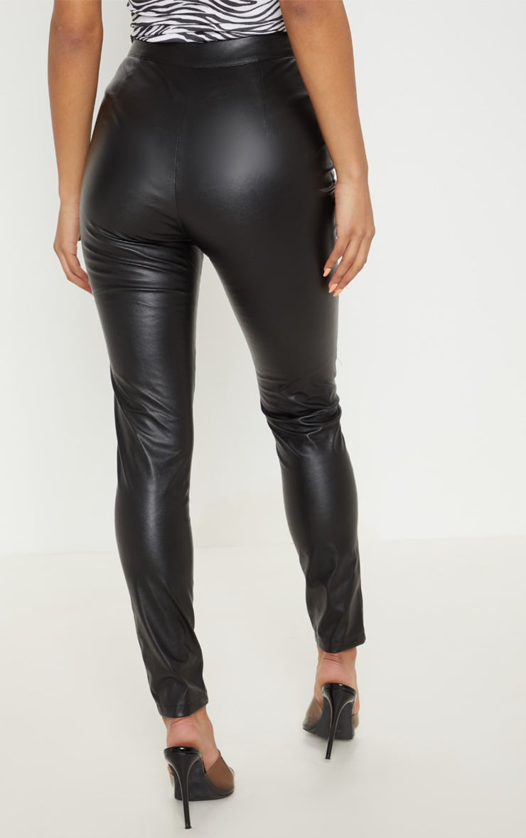 Black Faux Leather Biker Skinny Pants  4