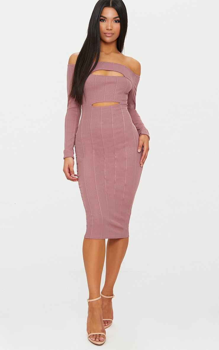 Dark Mauve Bandage Long Sleeve Bardot Cut Out Detail Midi Dress Pretty Little Thing Hh9miyFLhc