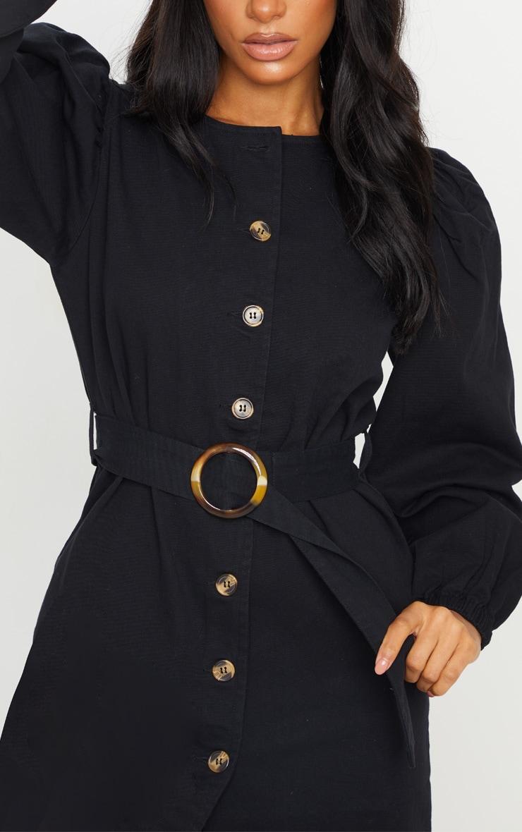 Black Button Through Balloon Sleeve Belted Denim Dress 4