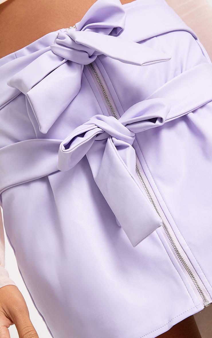 Danie Lilac Bow Tie Faux Leather Mini Skirt  6