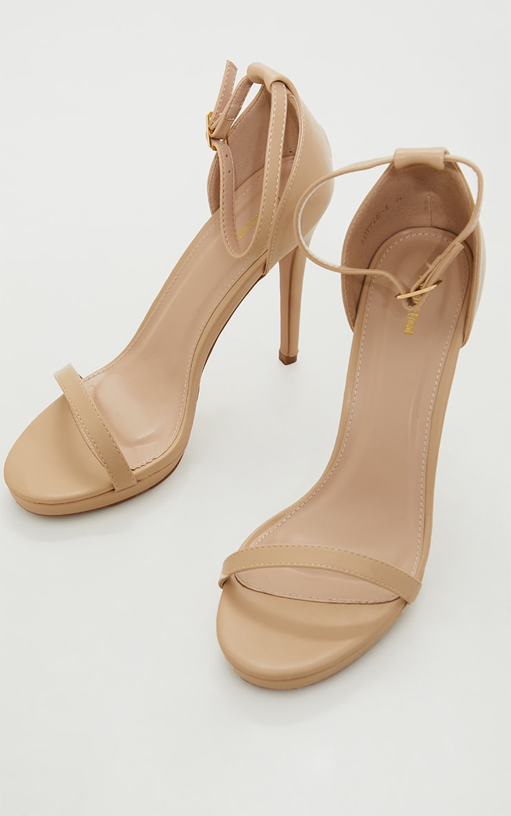 Enna Nude Single Strap Heeled Sandals 3