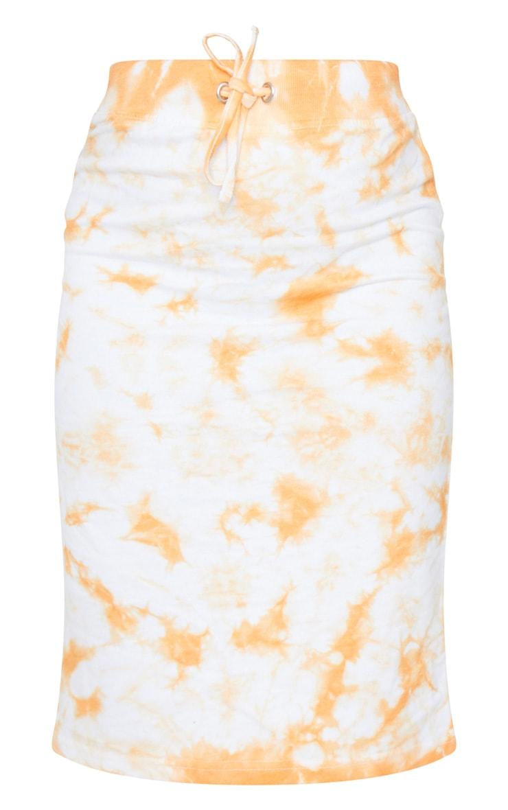 Petite Orange Tie Dye Sweat Midi Skirt 5