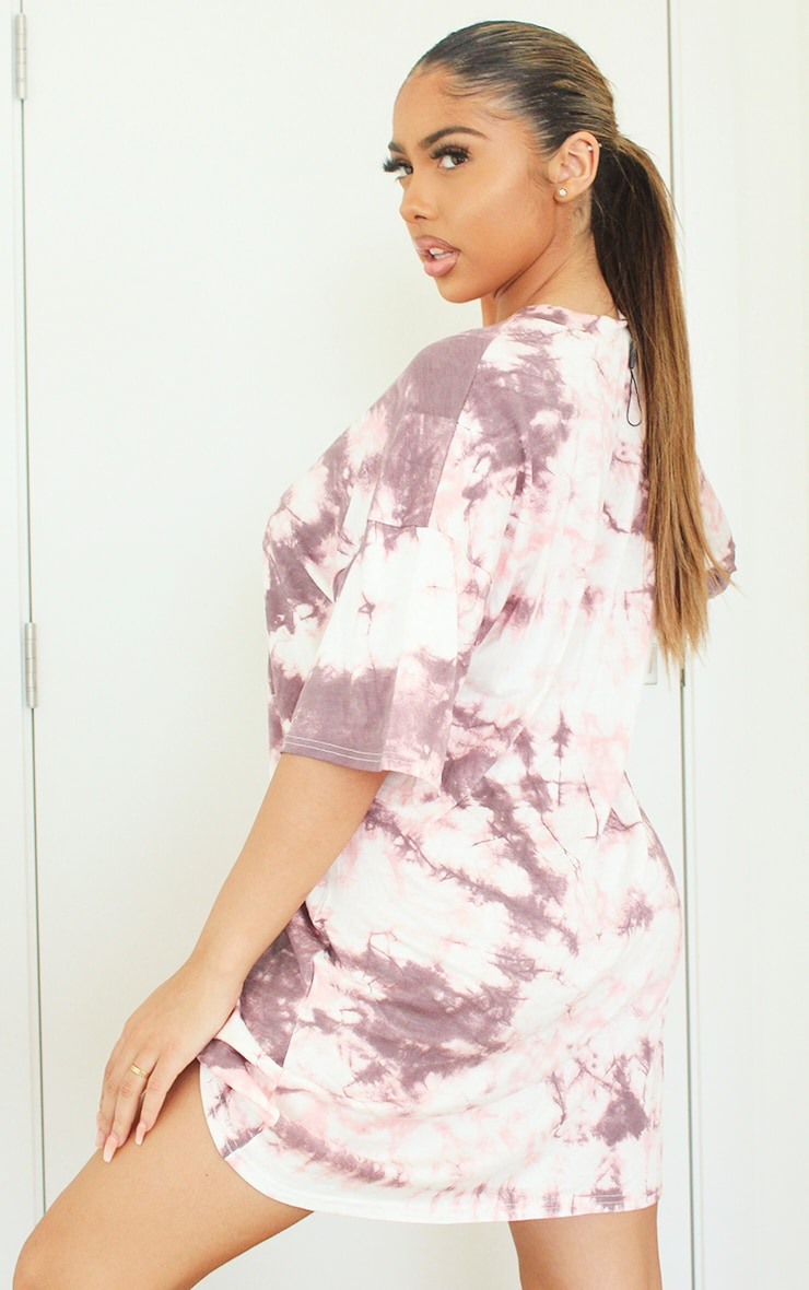 Pink Tie Dye Tee Shirt Dress 5