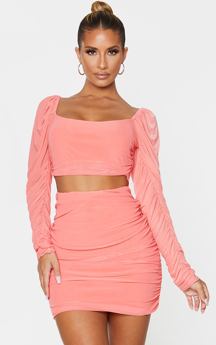 Coral Mesh Ruched Cut Out Puff Shoulder Bodycon Dress 1