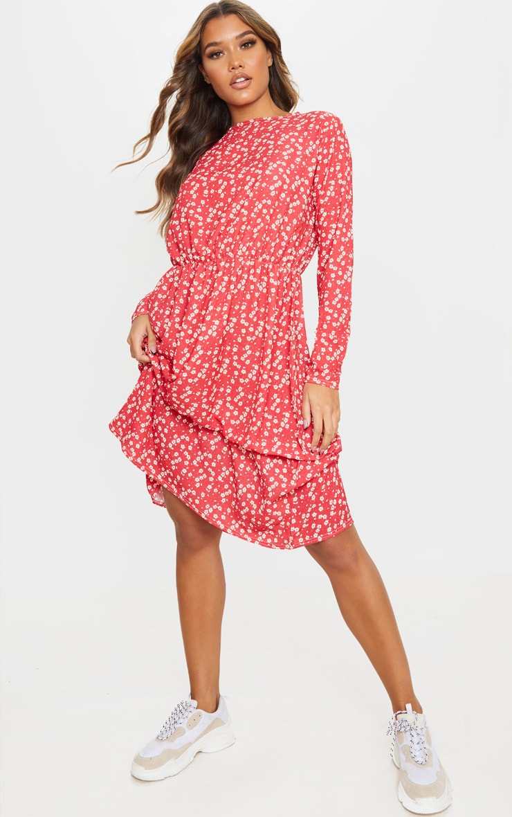 Red Floral Print Crepe Long Sleeve Tiered Midi Dress 1