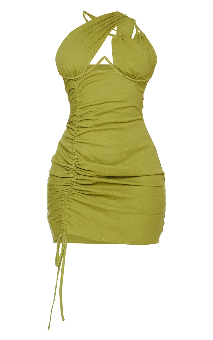 Shape Olive Woven Cup Detail Ruched Side Bodycon Dress 5