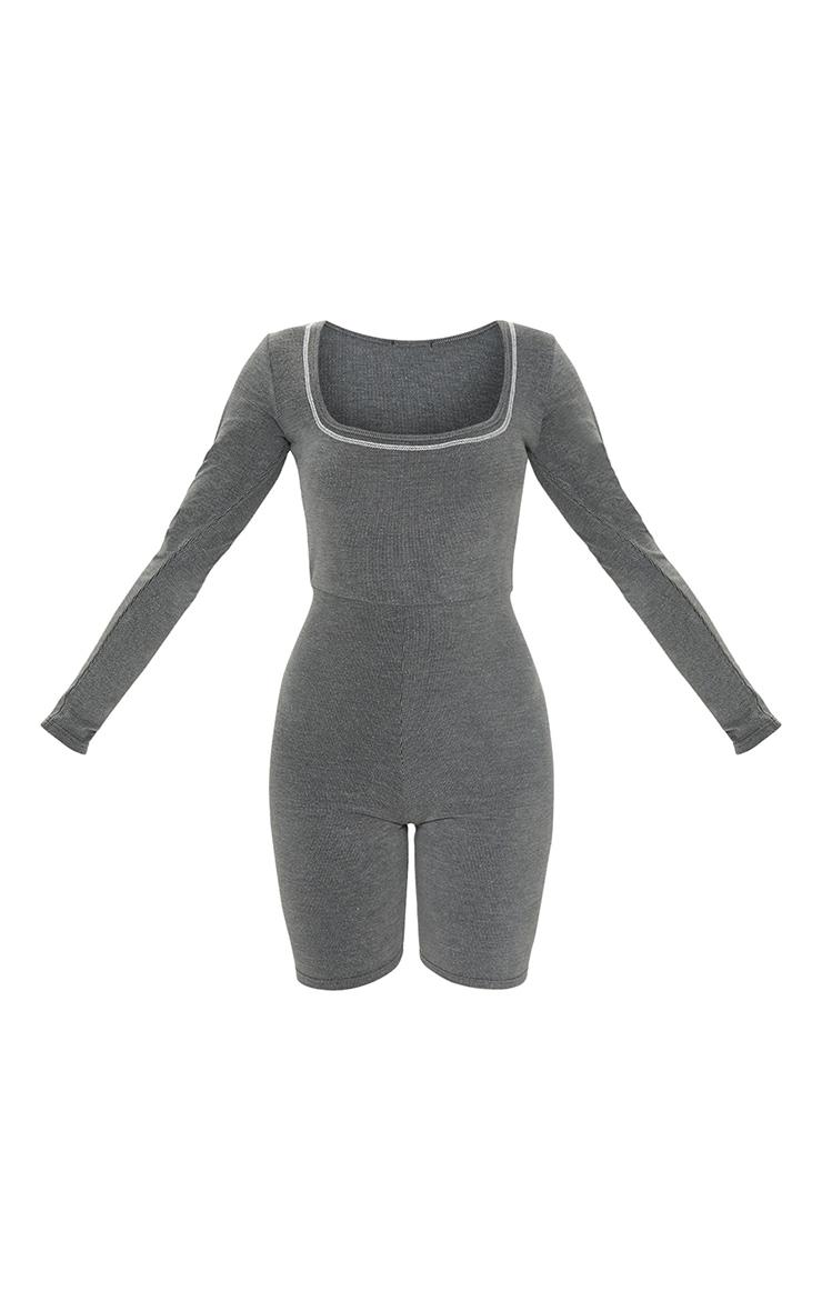 Grey Rib Seam Detail Long Sleeve Unitard 5