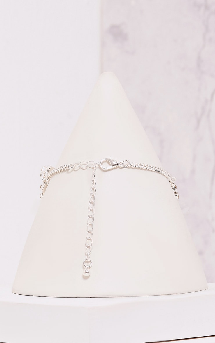 Ena Silver Diamante Detail Cross Choker 3