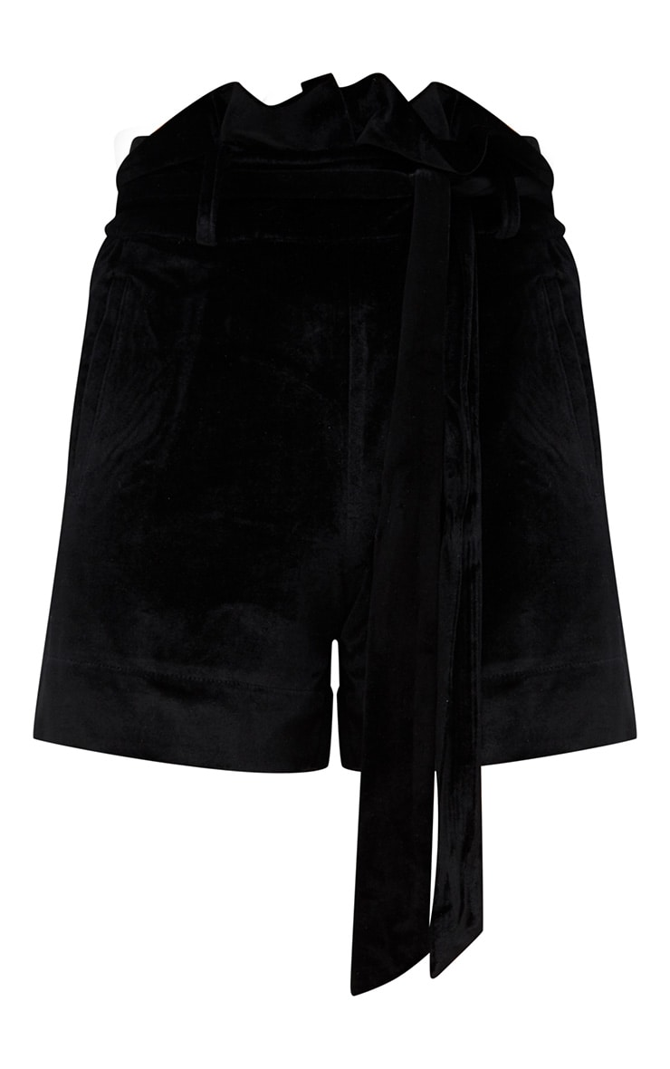 Black Velvet Paperbag Shorts 4