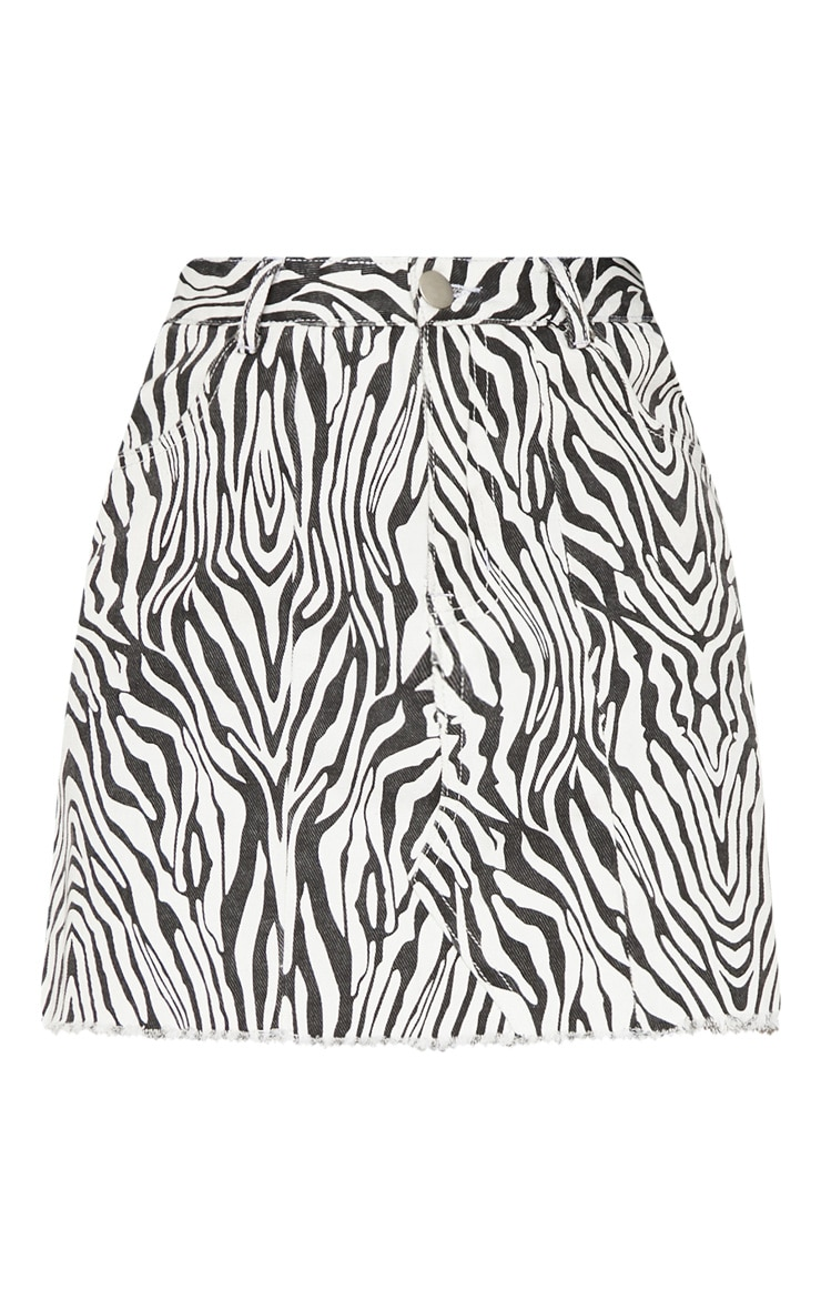 Monochrome Basic Zebra Print Denim Skirt 3