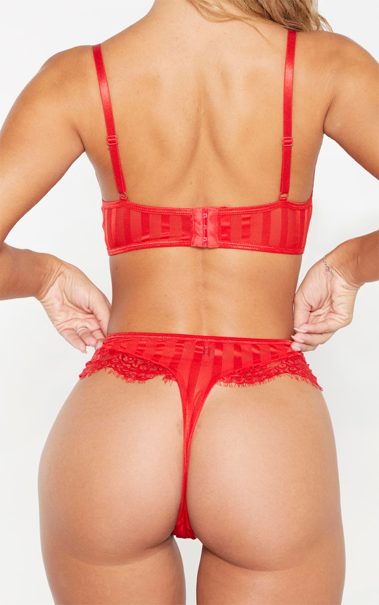 Red Striped Lace High Leg Thong 4