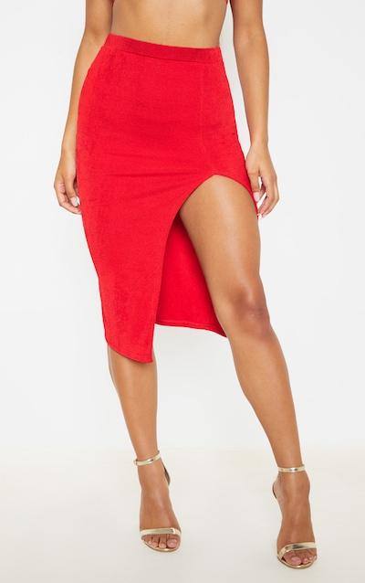 Red Double Layer High Split Midi Skirt