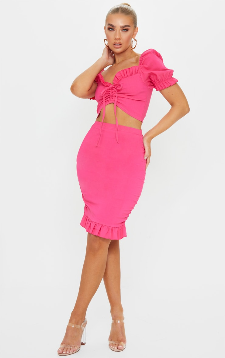 Hot Pink Woven Stretch Ruched Side Frill Hem Bodycon Skirt 1