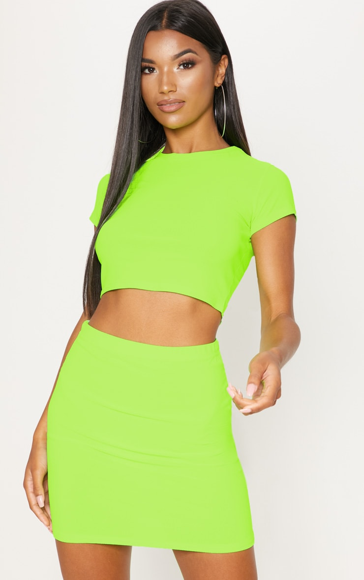 Lime Short Sleeve Crop T Shirt 1