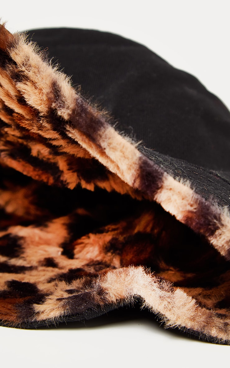 Leopard Faux Fur Reversible Bucket Hat 4